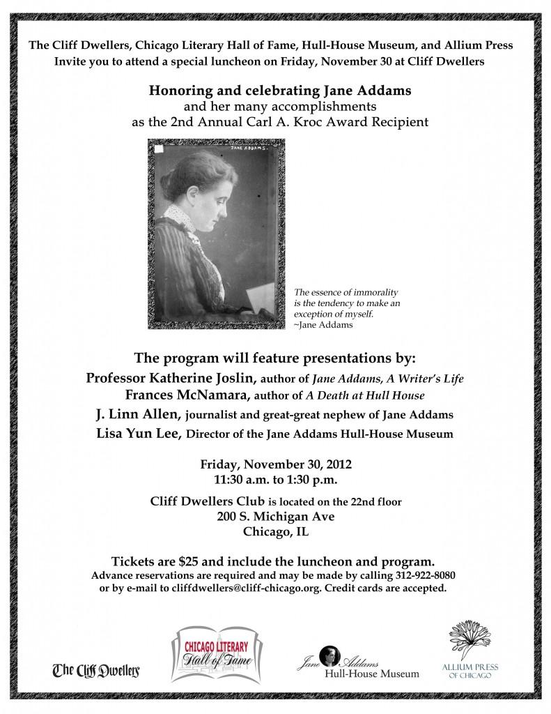 Flyer for Honoring and Celebrating Jane Addams, November 30,2012