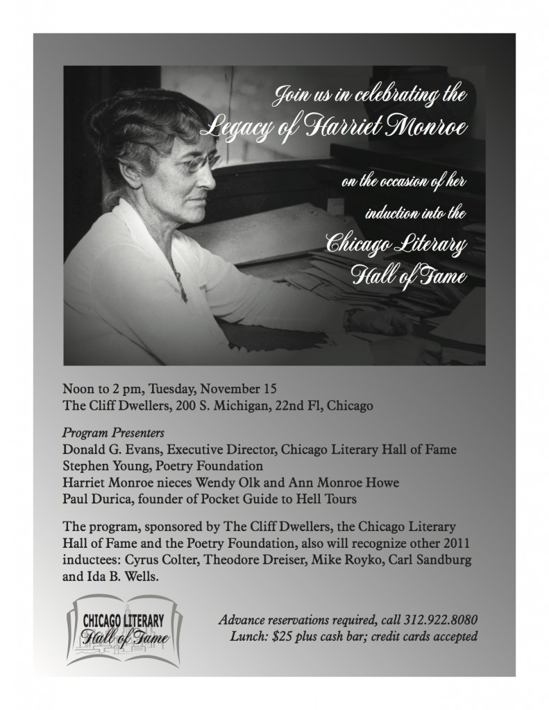 Flyer to Legacy of Harriet Monroe, November 15, 2012