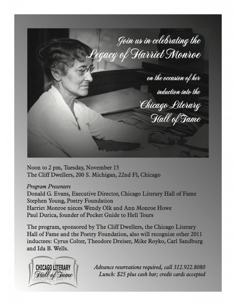 Flyer to Legacy of Harriet Monroe, November 15, 2012